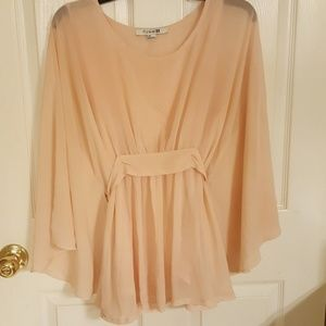 Forever 21 butterfly top pink sheer large
